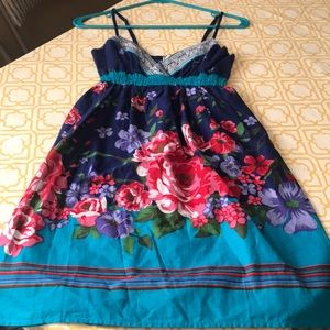 flying tomato Dresses - Blue and multicolored summer dress with flowers